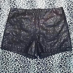 Forever 21 Shorts - Black Quilted Faux Leather Studded Shorts Sz M
